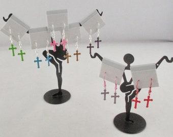 Colored Cross Earrings on Fishhook Earwires
