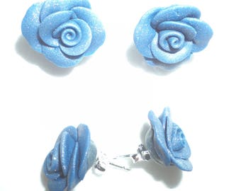 Silver studs, decorated with roses in resin earrings all colors