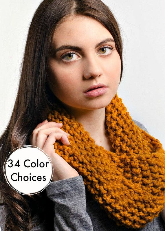 Chunky Knit Scarf - Mobius Cowl Butterscotch Golden Yellow - Yellow Cowl Scarf Mustard Cowl Scarf - Knit Accessories - 34 Color Choices