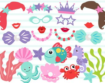Instant Download Mermaid Photo Booth Props Digital Mermaid Photobooth Prop Little Mermaid Party Photobooth Props Mermaid Princess Party 0379