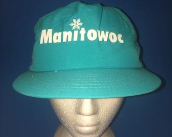 Vintage Manitowac Cranes Trucker SnapBack Hat Adjustable 1980s