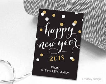 New Years Tags Confetti Dots New Years Gift Tags New Years Favor Tags Cheers to 2016 Printable Personalized Digital Tags New Year Tags