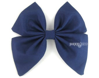 Navy Blue Hair Bow, girls hair bow, classic hair bow, barrette sailor hair bow, School uniform hair bow, big large hair bow, cotton bs5-nav