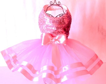 Beautiful Pink Sequinned Tu Tu Dog Dress for small breed dogs