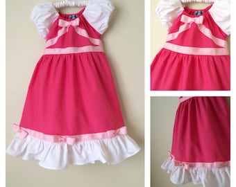 Pink Cinderella Inspired Ball Gown Cotton Everyday Princess Dress- sizes: 3m, 6m, 12m, 18m, 2, 3,4, 5, 6 , 7, and 8.