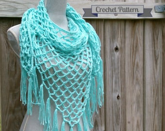 Crochet Pattern Summer Lattice Shawl Pattern, Triangle Scarf Pattern PDF