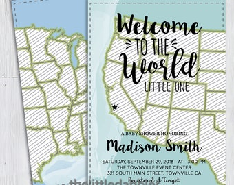 Printable Welcome to the World Baby Shower Invitation -- West Coast United States Map Invitation, World Travel Baby Shower -- PNG & JPG