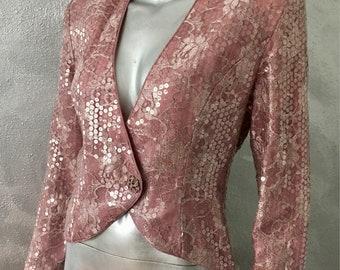LILLIE RUBIN Vintage Rose Pink Lace Sequin Jacket