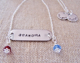 Name Plate Mother's Necklace, Name Plate Grandmother's Necklace, Handstamped Necklace, Mother's Birthstone Necklace