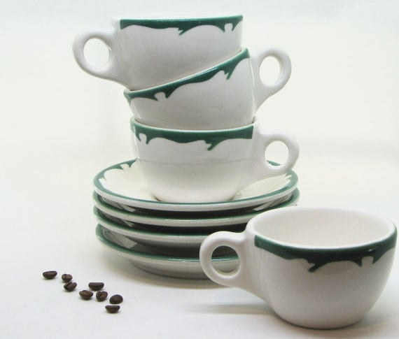 Vintage Buffalo China Crest Green Coffee Cups and Saucers Set
