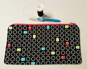 Pacman Zipped Pouch Contrasting Lining Organize Travel Cosmetics School Baby Sewing Supplies Makeup School Baby Sewing Supplies