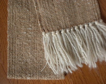 Handwoven Scarf in Cotton Chenille and Wool