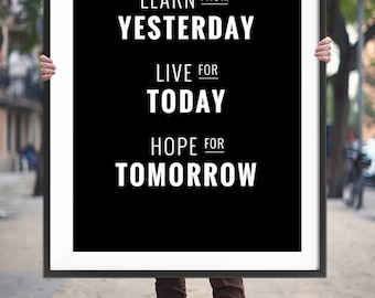 "Home and Living Home Decor ""Yesterday Today Tomorrow"" Printable Art Inspirational Poster Positive Quotes Wall Hanging Digital Download"