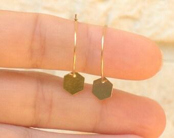 Hexagon Hoop Earrings   14k Gold Filled hoop earrings / thin 14k gold hoop earrings / delicate gold hoops / geometric earrings