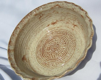 Serving Bowl in Earthtones with Hand Carvings Inside - Visit shop for more Handmade Pottery