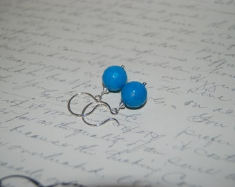 Natural  Blue Agate Earrings on Sexy French Style Ear Wires