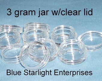 100 - 3 gram plastic jars clear lids makeup sample lip balm storage item 103N