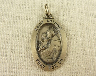 Vintage Sterling Satin Finish Saint Anthony Charm