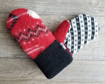 Best Wool Sweater Mittens // Womens Sweater Mittens // Fleece Lined mittens // Classic Blue Sweater
