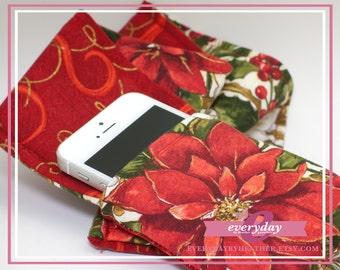 dSLR Camera Strap Cover - Red/Gold Swirls & Christmas Poinsettias