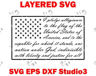Pledge Of Allegiance Flag - Cutting File SVG, EPS, DXF, and Studio3 - Cricut, Silhouette Cameo Studio Cut File- Instant Download
