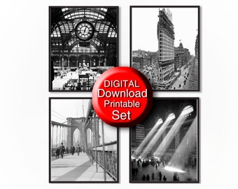 Printable New York City Print Set of 4 Prints, Black and White Photography 8x10 A4 11x14 A3