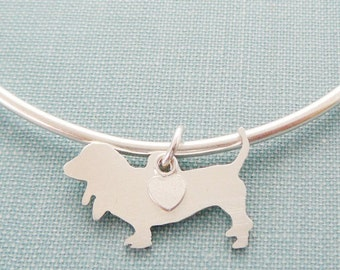 Basset Hound Dog Bangle Bracelet, Sterling Silver Personalize Pendant, Breed Silhouette Charm, Rescue Shelter, Mothers Day Gift