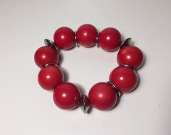 Retro Bracelet, Big Beads, Metal and Plastic, 70s, 80s Retro, Celluliod Beads, Vintage Bangle, Red Beads