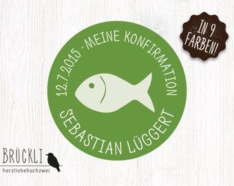 "24 stickers / labels / stickers / confirmation / communion invitation ""Fish"""