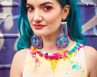 Celtic Knot Earrings in Pink and Turquoise by Get Crooked