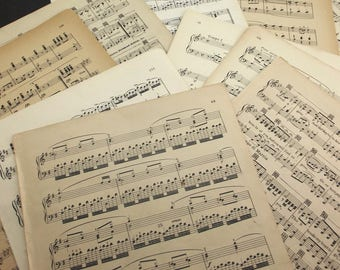 """Vintage sheet music, LARGE 9"""" x 12"""" pages, old sheet music, paper crafts, music & songbook pages, old sheet music, decoupage, journals"""