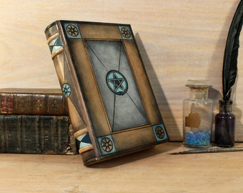Alchemic leather journal, Natural brown leather, handpainted - Ouroboros