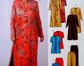 Long Asian Style Tunic Top and Pants, Length Variations, McCalls 4527 EASY Sewing Pattern Miss Plus Sizes 26W 28W 30W 32W UNCUT