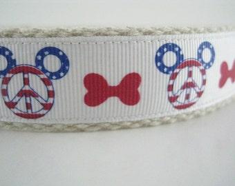 Mickey Mouse America Peace and Dog Bones hemp dog collar or leash
