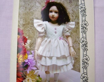 """Paper Pattern for 12"""" or BJD  Ruffled Dress and Hat    Free Ship USA"""