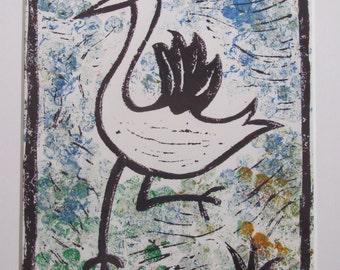 Bird Lino Print