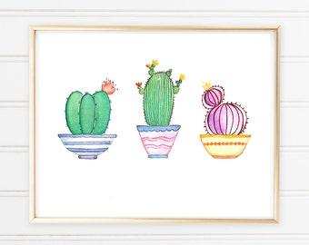 Impression d'aquarelle cactus - Cactus art print - oeuvre de mur cactus cactus impression numérique - cactus imprimable art de mur