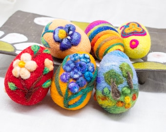 6 Needle felted Easter eggs - 6 Nadel gefilzte Ostereier, Easter Egg, Spring Ornament, Miniature Original Art