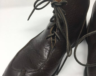 Cydwoq Dark Brown Pebble Leather Ankle Boots Size 9