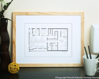 The Office TV Show Office Floor Plan | Dunder Mifflin Scranton Office Layout | Gift for the Office TV Show | The Office Poster | Black