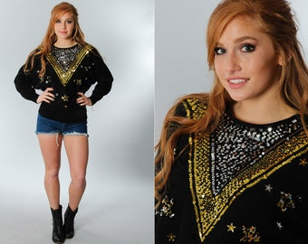Gold & Silver Glitter Vintage Sweater | Metallic Sequins Beaded Vintage Top 1970s 1980s Top Fits L to XL | 5EE