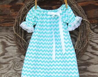 Girls Blue Dress, Girls Peasant dress, Easter dress, Blue Lace Dress