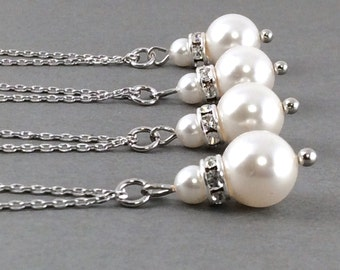 pearl necklace | pearl crystal necklace | mom | bridesmaid gift | pearl necklace | bridesmai jewelry | bridal party necklace | white pearl
