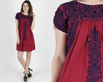 Oaxacan Dress Womens Mexican Dress Boho Wedding Dress Cotton Dress Vintage 70s Maroon Cinco De Mayo Navy Hand Floral Embroidered Mini Dress