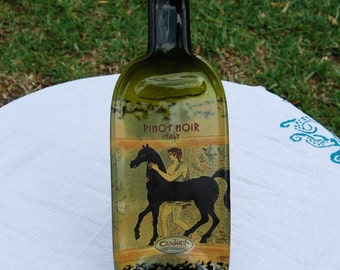 Horse Wine Bottle Serving Tray Candoni Pinot Noir with Cheese Spreader Wedding Gift