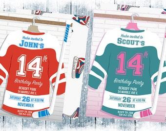 Hockey Birthday Invitations, Hockey Birthday Invitation, Ice Hockey Party, Hockey Party, Ice Hockey Birthday Invitations, Hockey Birthday,