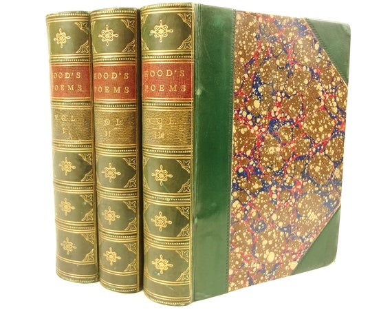 circa 1875 Poetical Works of Thomas Hood, 3 volumes, complete, with memoir. Fine binding. Marbling.