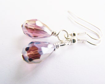 SALE - Sparkling Plum Crystal Teardrop Earrings - bridal - wedding - bridesmaids - affordable gifts - beach - free shipping WAI