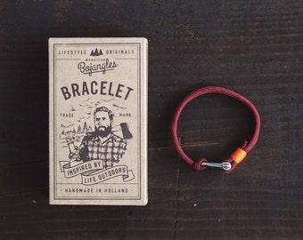 Handmade Paracord Sailor Bracelet/Armband Mens/Womens Burgundy/Orange