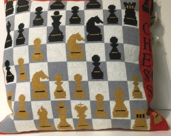 Chess needlepoint cushion pillow designer hand made board game embroidered